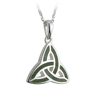 Sterling Silver and Connemara Marble Trinity Knot Pendant Necklace - Made in Ireland
