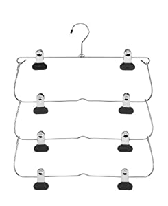 Whitmor 6021-185 Ebony Chrome Collection 4-Tier Folding Skirt Hanger