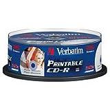 Verbatim CD-R 52x Speed 700MB printable CD-Rohlinge 25er Spindel