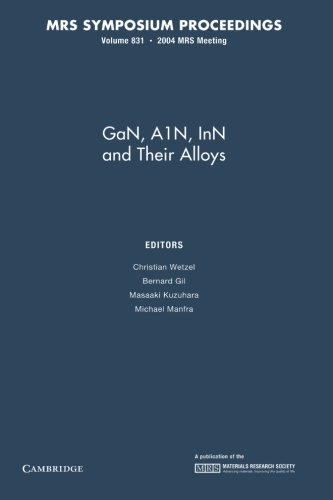 Gan, Ain, Inn And Their Alloys: Volume 831 (Mrs Proceedings)
