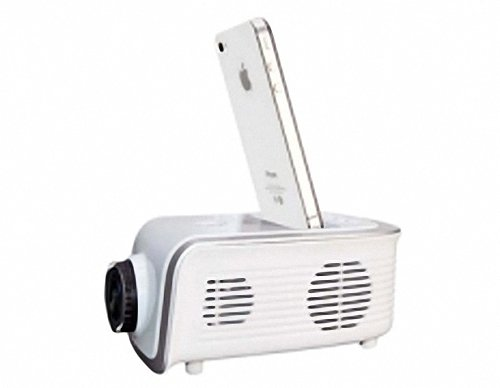 Monolithic LCD Technology Mini Projector with US Charger for iPhone iPod Touch (White) by PSK Picture