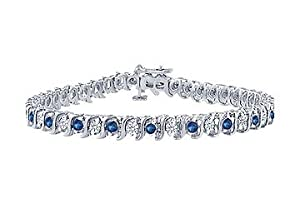 Sapphire and Diamond Tennis Bracelet : Platinum - 4.00 CT TGW