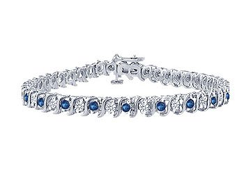 Sapphire and Diamond Tennis Bracelet Platinum - 3.00 CT TGW