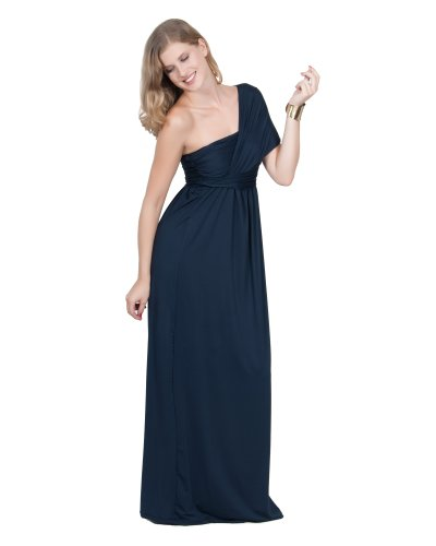 Koh Koh Women's Grecian Insprired One Shoulder Cocktail Evening Maxi Dress – Small – Navy Blue