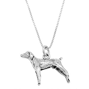 Sterling Silver Weimaraner Necklace-3d