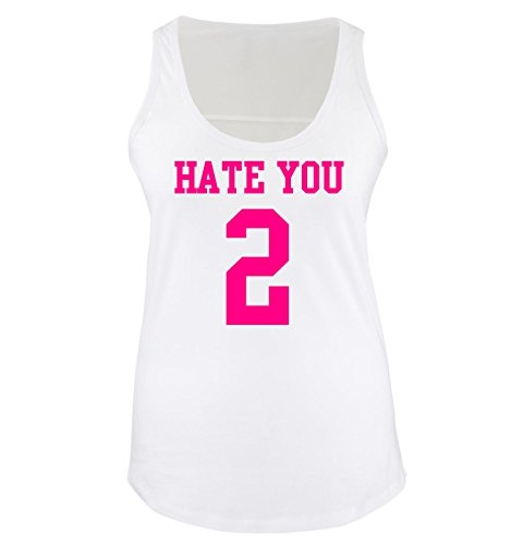 Comedy Shirts - HATE YOU TOO - Donna Tank Top canottiera - bianco / fucsia taglia XL