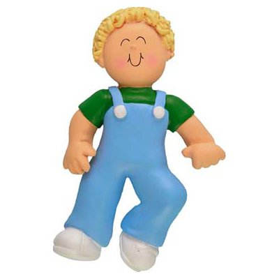2161 Blonde Boy First Step Personalized Christmas Ornament