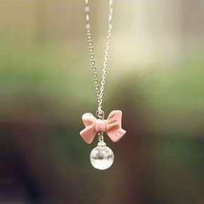 Buyinhouse Casual Feeling Adorable Cute Pink Bowtie Bowknot Pearl Gemstones Rhinestone Pendant Long Style Necklace