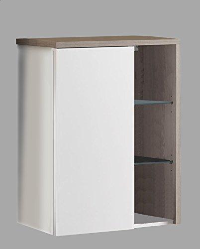 Badmbel-Badezimmer-Mbel-WBU-Hngeschrank-Spiegelschrank-Wei-Pinie-silber-grau-Unterschrank-Sideboard