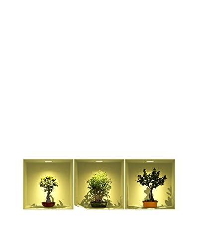 Ambiance Live Set Vinilo Decorativo 3 Uds. 3D Effect Bonsai Trees