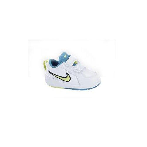 Nike - Pico 4 (Tdv) - 454501 121 - Zapatillas Tenis Bebé Blanco, Azul Y Verde - Talla : 22 - Color : Blanco Y Azul Y Verde