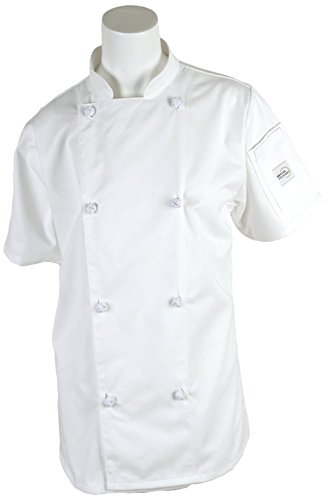 Mercer Culinary M61042WHM Genesis Women's Short Sleeve Chef Jacket with Cloth Knot Buttons, Medium, White (Womens Chef Coats With Pockets compare prices)