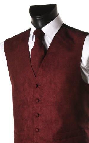 Men's Wine Suede Effect Front Panel Waistcoat
