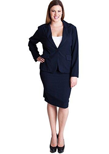 navy blue plus size blazer and pencil skirt suit set