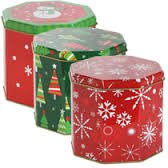 Octagon Shaped Christmas Tins