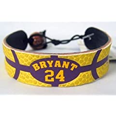 Los Angeles Lakers Kobe Bryant Team Color Basketball Bracelet by Hall of Fame Memorabilia