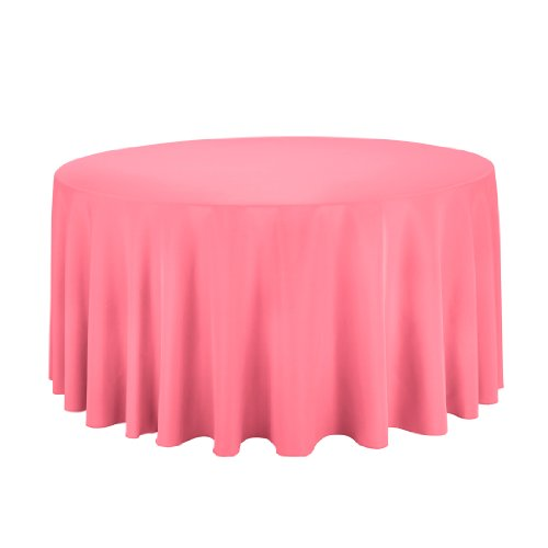 Linentablecloth Round Polyester Tablecloth, 120-Inch, Coral front-56633