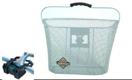 Biria Basket with Bracket White, Front Quick Release Basket, Removable, Wire Mesh Bicycle basket