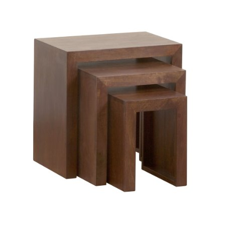 Homescapes - Dakota - Nest of 3 Tables - 46 x 30 x 46 cm - Dark - 100% Solid Mango Hard Wood - ( No Veneer ) Hand Crafted Furniture