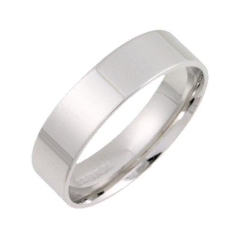 Wedding Ring, 9 Carat White Gold Light Weight Flat Court Shape, 5mm Band Width