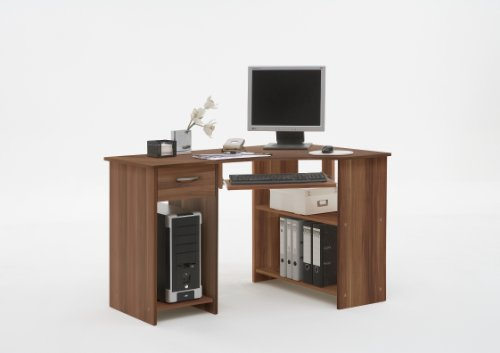 Sharpe Walnut Colour Wood Corner Computer Pc Work Station Table Desk With Drawer And Keyboard