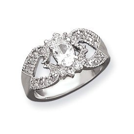 Genuine IceCarats Designer Jewelry Gift Sterling Silver Cz Double Heart Ring Size 7.00