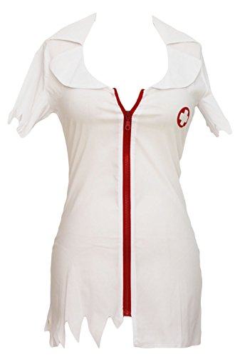 Roswear Women's Adult Zombie Nurse Halloween Costume White One Size