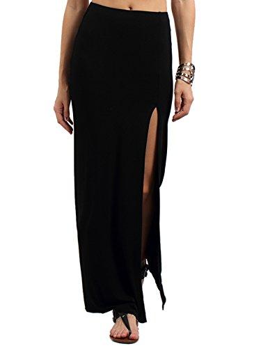 MakeMeChic Women's Casual Side Split Solid Maxi Skirt Black XS (Long Split Maxi Skirt compare prices)