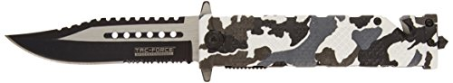 TAC Force TF-710DW Liner Lock Assisted Opening Folding Knife, Two-Tone Half-Serrated Blade, Winter Camo Handle, 5-Inch Closed
