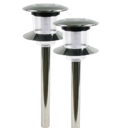 Two Tier Stainless Steel Set Of 2 Solar Lights Outdoor Lighting