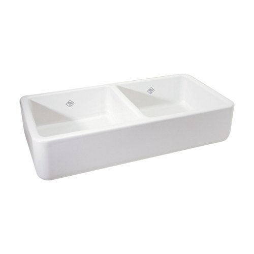 Rohl RC3719WH 36-5/8-Inch by 18-1/2-Inch by 10-1/2-Inch O.D. Shaws Farnworth Double Bowl Fireclay Apron Kitchen Sink, White