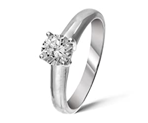 Classical 18 ct White Gold Ladies Solitaire Engagement Diamond Ring Brilliant Cut 0.50 Carat DEF-SI2 Size J