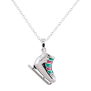 Colorful Sterling Silver Rhodium Plated Diamond Accent Ice Skate Shoe Pendant Necklace, 18
