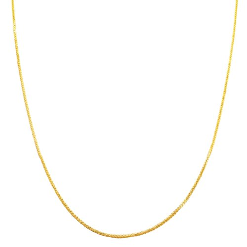 14k Yellow Gold Square Wheat Chain (1.1mm, 22 inch)