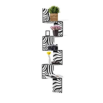 Adorn Home Essentials  Corner Zig Zag Wall Mount Shelves  5-Tier Zebra with Black Edging
