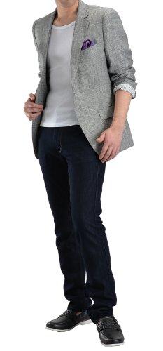 B.E(リネン100%)素材ノッチドラペル2ツボタンジャケット:グレー JK24AZLJK-07R-910:M(BE体) (麻100% メンズ テーラードジャケット カジュアル ビジネス クールビズ ブレザー)(JK24)