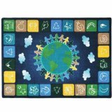 "Joy Carpets Kid Essentials Geography & Environment One World Rug, Neutrals, 10'9"" x 13'2"""