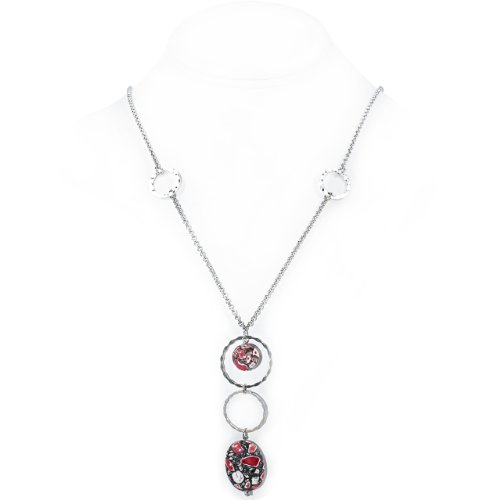 925 Sterling Silver Necklace with Red Howlite and Sterling Silver Rings
