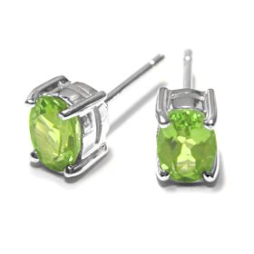 Sterling Silver 1.80CT Oval Peridot Earrings