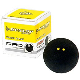 Dunlop Pro - Double Yellow Dot Squash Ball - 3-pack