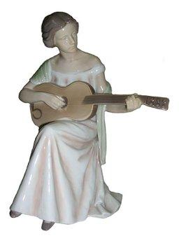 Bing & Grondahl Porcelain Sculpture Woman Playing Guitar