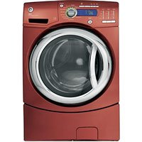 """27"""" Vermillion Red Front-Load Washer With Internal Water Heater Adaptive Vibration Control Speed Wash eWash Option 4.1 DOE cu. ft. Capacity & CEE Tier III Energy Star Complian"""