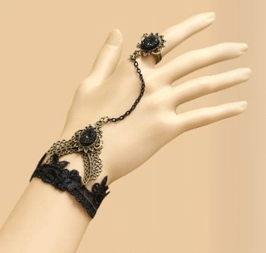 Paris Collection By Jamie - Beautifully Romantic Adjustable Black Lace Bracelet With Antique Style Jewellery & Adjustable Ring Attached