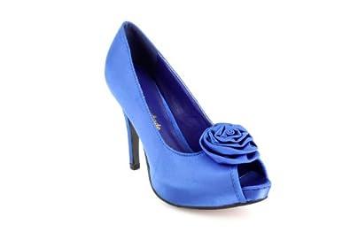 Escarpins habillés en satin Bleu, plateforme intérieure et talon de 11 cm.32
