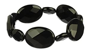 Black Onyx Faceted Flat Oval Bead Stretch Bracelet, 7.5""