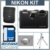 Nikon Coolpix S1100pj Digital Camera Kit - Black - with 4GB SD Memory Card, Camera Case, Table Top Tripod, 2 Year Extended Service Coverage