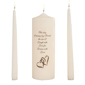 """Celebration Candles Wedding Unity Candle Set, with 9-inch Pillar with Double Heart Motif and """"This Day I Marry my Friend"""" Verse, with 10-inch Taper Candles, Ivory"""