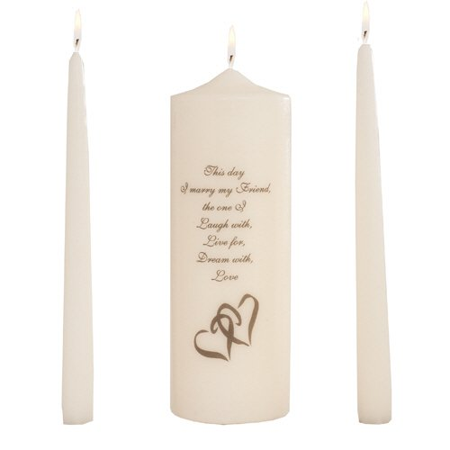 Celebration Candles Wedding Unity Candle Set, with 9-inch Pillar with Double Heart Motif and