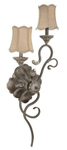 Nuvo 60/1149 Two Light Right Hand Sconce with Striped Fabric Shade, Gold Coast (1149 Bulb compare prices)
