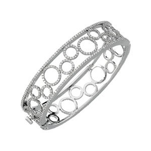 14K White Gold 6 7/8 Ct Tw Diamond Bangle Bracelet